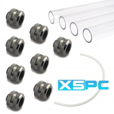 View Alternative product WCUK Spec XSPC 14mm PETG Hard Tube, Black Chrome Fittings and Cord Pack - Clear