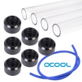 WCUK Spec Alphacool 16mm PETG Hard Tube, Black Fittings and Cord Pack - Clear