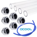 WCUK Spec Alphacool 16mm PETG Hard Tube, Chrome Fittings and Cord Pack - Clear